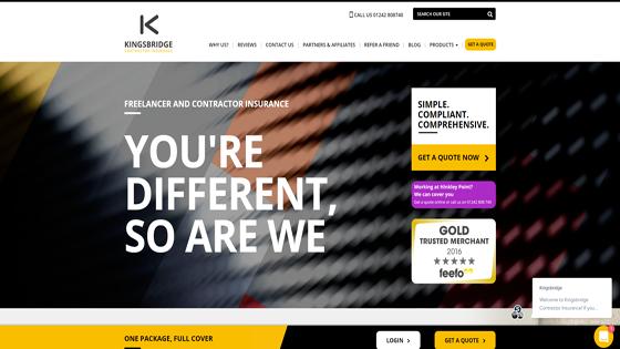 The Kingsbridge Contractor Insurance website