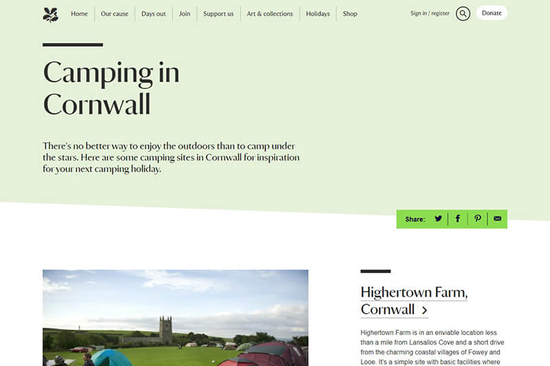 National Trust campsites in Cornwall