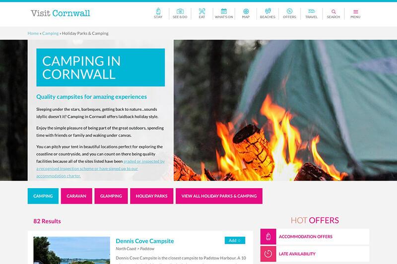 Visit Cornwall camp site list
